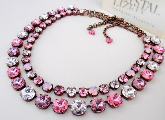 Rose Multi-colors Swarovski Rivoli Necklace / Anna Wintour Choker