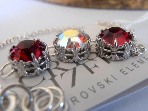 Art Deco Dainty Bracelet w/ Swarovski Crystals / Ruby Red Chain Jewelry