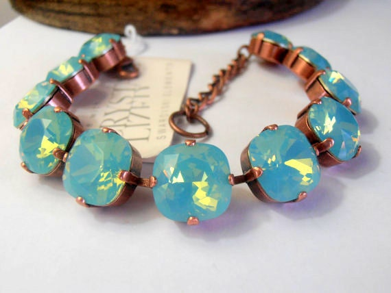 Swarovski Crystal Bracelet, Pacific Opal, Antique Copper setting, Shabby chic, Cupchain, Tennis Bracelet