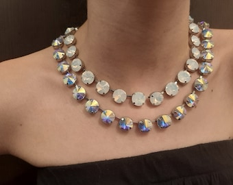 Aurora Borealis Rivoli Tennis Necklace • Anna Wintour Summer Choker • White Opal Crystals • Platinum Cup Chain Jewelry • Birthday Gift