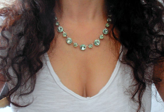 Swarovski Crystal Necklace / Chrysolite Tennis Cup Chain Choker / Women Jewelry
