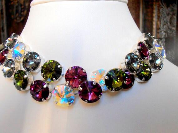 Anna Wintour Multi-color Swarovski®Necklace / Rivoli Crystal Choker