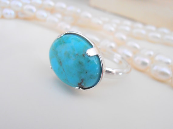Turquoise Blue Stone Ring / Sterling Silver Gemstone Jewelry
