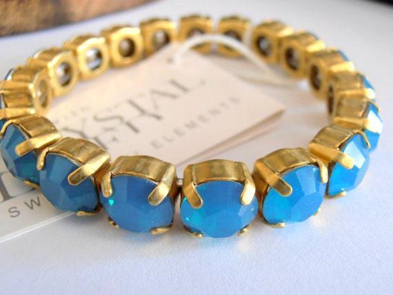 Caribbean Blue Opal Swarovski Stretch Bracelet / Sew On Crystal Cuff / Antique Gold setting / Round Cup Bracelet / Gift for her