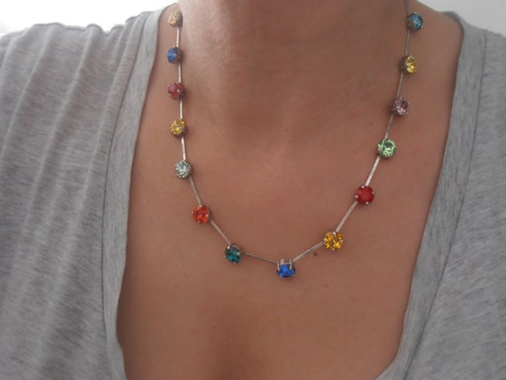 Swarovski Crystal Necklace, 8mm, Multicolor Rainbow Chatons, Antique silver, Cupchain, Collet, Choker, tennis necklace