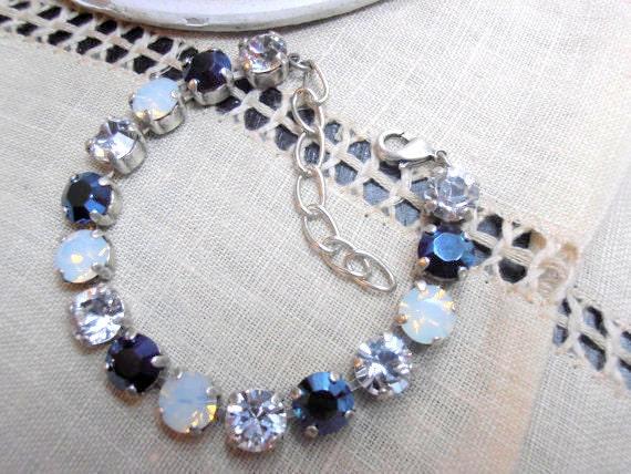 Swarovski Bracelet / Metallic Blue/ White Opal / Tennis / Cupchain Bracelet / Crystal Chatons SS39 / Antique silver / Shabby Chic