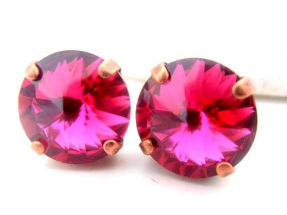 Swarovski Earrings, Fuchsia Pink, Studs, Post Earrings, 1122, 12mm Rivoli Round Setting, Bridal, Antique copper Prong Setting