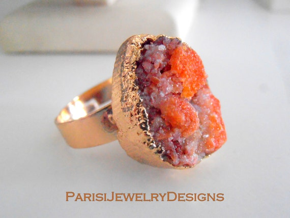 Natural Gemstone Raw Druzy Ring / Rusted Orange Agate Stone / Boho Rings/  Statement Adjustable Ring / Mineral Gem / 20mm Gold  Bohemian