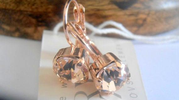Swarovski Earrings, Silk Crystal Earrings, Dangle Earrings, Chaton Drop Earring, Gift for her, Rose Gold plated, Fashion,Costume Jewelry