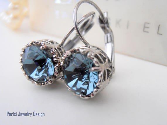 Art Deco Swarovski Drop Earrings / Valentines Gift / Surgical Steel Leverback Earrings