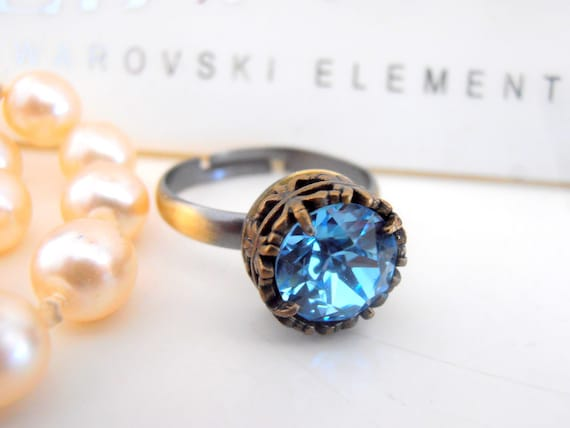 Aquamarine Swarovski Ring / Gothic / Solitaire Stackable Ring / Adjustable Rings / Blue Crystal Antique Bronze Filigree Setting /