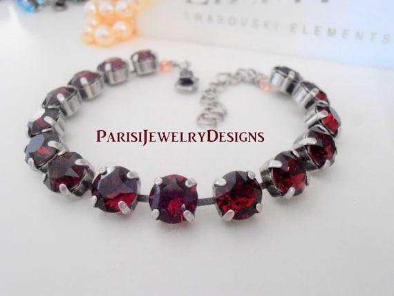 Garnet Swarovski Bracelet / January Birthstone Red Crystal / Gift for her / Valentines day Gift / Tennis Cupchain Bracelet /