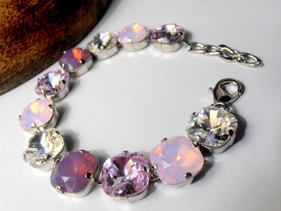 Cushion Cut Swarovski Bracelet / Crystal Cupchain 12mm 4470 / Tennis Bracelet / Rose/Cyclamen Opal Multicolors / Gift for her / Fashion