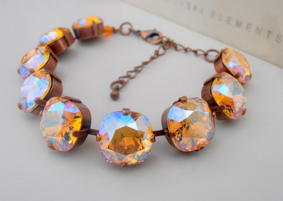 Swarovski Cushion Cut Statement Bracelet 4470 / Topaz Shimmer Tennis Cupchain Jewelry