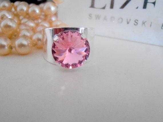 Rose Band Swarovski Crystal Ring / Rivoli Cuff Adjustable Ring / Boho Coctail Ring / Silver Plated Fashion Rings / Birthday Gift