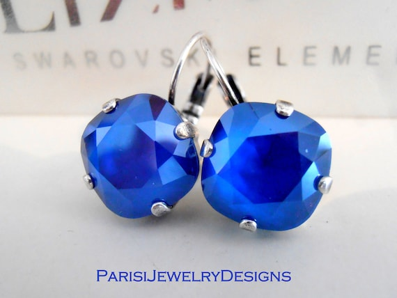Royal Blue Cushion Cut Earrings w/ Swarovski Crystals 4470 • Mother's Day Gift