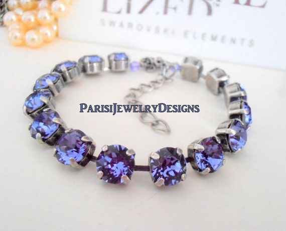 Swarovski Bracelet /Birthstone June Tanzanite Crystal / Tennis / Cupchain / Surgical Steel Chain / Gift For Her Christmas/ Charm Bracelet