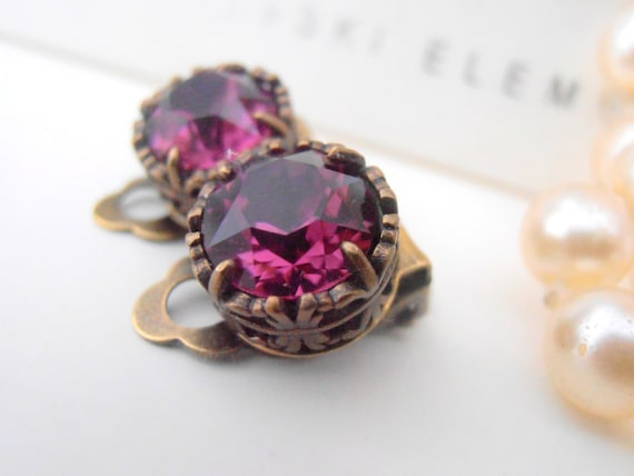 Amethyst Clip On Earrings / Swarovski Non Pierced Crystal Earrings / Art Deco Purple Studs