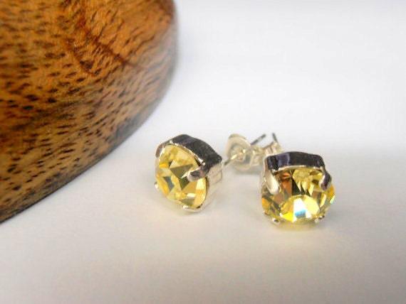 Swarovski Earrings, Crystal Stud Earrings, Jonquil, Bridesmaid, Bridal Stud,8mm Yellow Pierced Post Earrings, Silver Plated, Fashion Jewelry