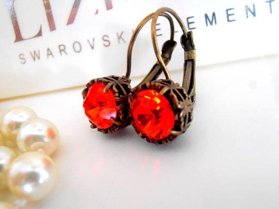 Art Deco, Swarovski Earrings, Leverback, Hyacinth Orange, Dangle, Drop, Crystal, Antique Bronze, Filigree Prong Setting, Vintage Jewelry