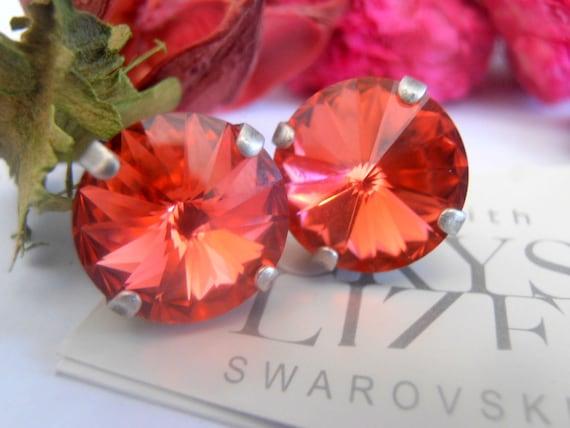 Padparadscha Orange 12mm Swarovski Crystal Rivoli Setting Antique Silver Stud Post Earrings
