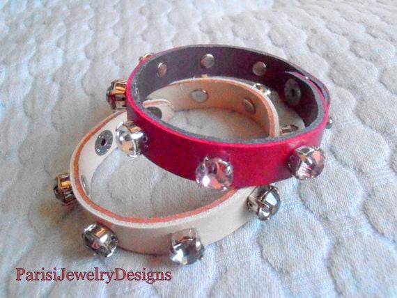 Swarovski Leather Cuff Bracelet / Bohemian Crystal Wrap Bracelet / Leather Strap / Bangles /  Red Adjustable Leather Bracelets /