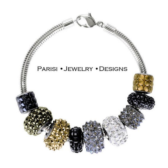 Black Swarovski Crystal Bracelet / Becharmed Micro Pave Jewelry