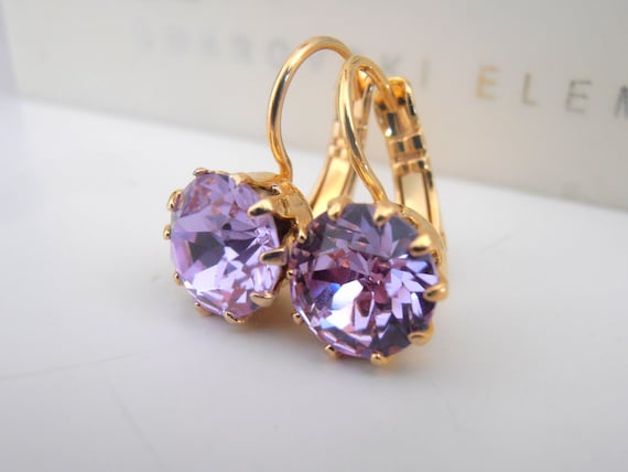 Lilac Violet Gold Drop French Crown Earrings w/ Swarovsi / Victorian Jewelry