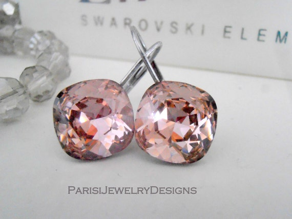 Vintage Rose Cushion Cut Swarovski Drop Earrings 4470 / Wedding Jewelry