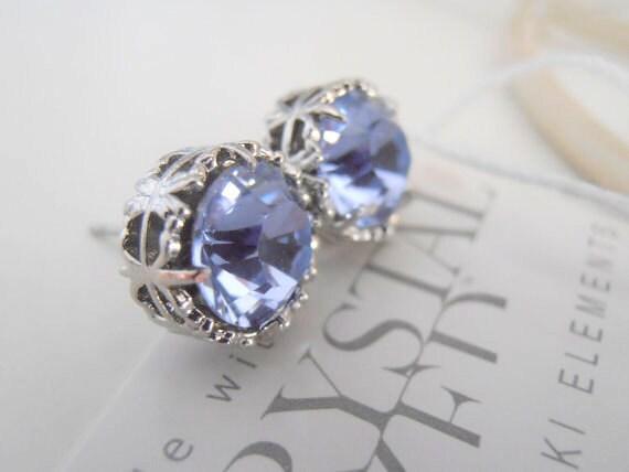 Lilac Swarovski Stud Earrings / Violet Bridal Earrings / Wedding Studs / Filigree Post Pierced / Surgical Steel Earrings / Art Deco Earrings