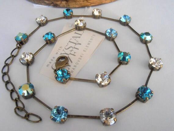 Swarovski Crystal Necklace, 8mm, Minimal Jewelry, Aquamarine AB, Antique Brass, Chaton choker,Tennis Necklace,Cupchain