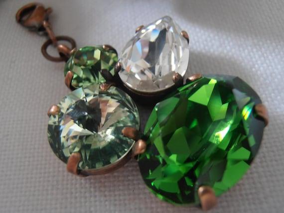 SALE ITEM Vintage, Swarovski Multicolor Chrysolite/Fern Green Crystals, Antique copper setting, Pendant/Necklace