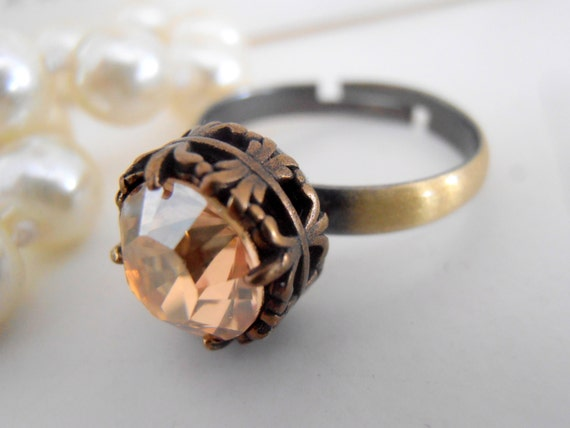 Swarovski Ring / Stackable Ring / Art Deco Adjustable Solitaire Ring / Golden Shadow Crystal / Vintage / Antique Bronze Filigree