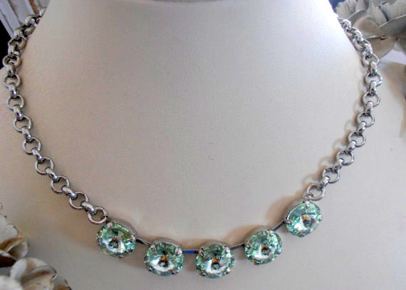 Swarovski Crystal Necklace, Chrysolite 12mm,  Platinum plated, Rivoli Necklace, Anna Wintour, Thick Rolo chain, Choker, tennis necklace