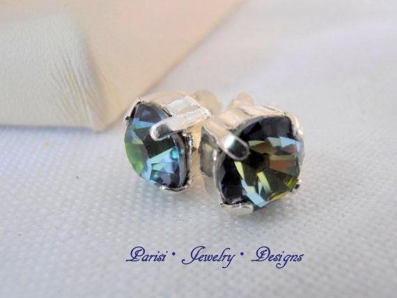 Sahara Blue Swarovski Earrings / Crystal Post Earrings / Pierced Stud Earrings / Silver plated Setting / Vintage Jewelry / Jewelry for her