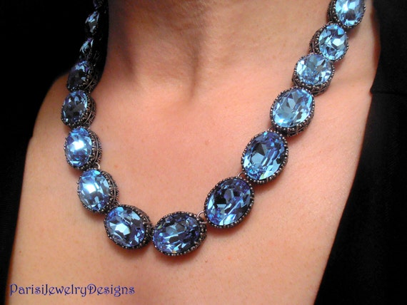 Aquamarine Swarovski Riviere Necklace / Georgian Crystal Oval Collet / Contemporary / Blue Statement Art Deco / Anna Wintour / Her Gift