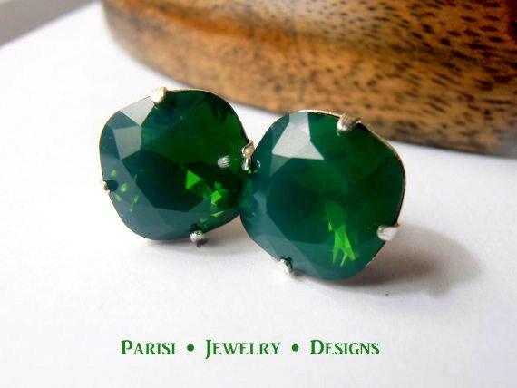 Swarovski Stud Earrings / Cushion Cut / Palace Green Opal Post Earrings / 4470 12mm Crystal Square / Pierced / Bohemian / Boho / Gifts