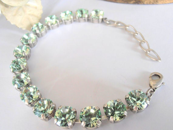Chrysolite Green, Swarovski Bracelet, Tennis, Link, Crystal, Shabby, 8mm, Cupchain, Link, Antique Silver Setting, Chatons, Jewelry