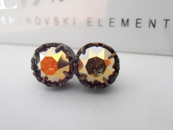 Swarovski Stud Earrings / Crystal Post Earrings / Art Deco Earrings  / Yellow Metallic  / Surgical Steel Pad /  Art Deco Earrings / Bronze