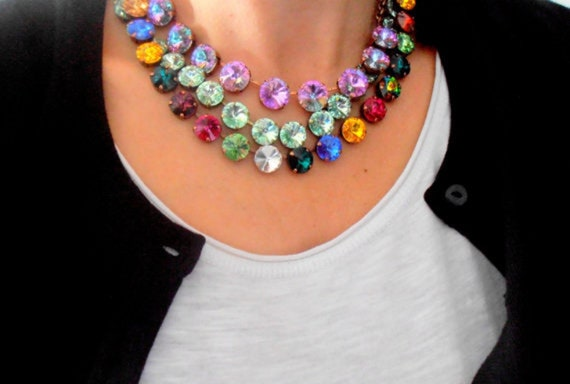 Multicolor Statement Necklace w/ Swarovski Rivoli • Anna Wintour