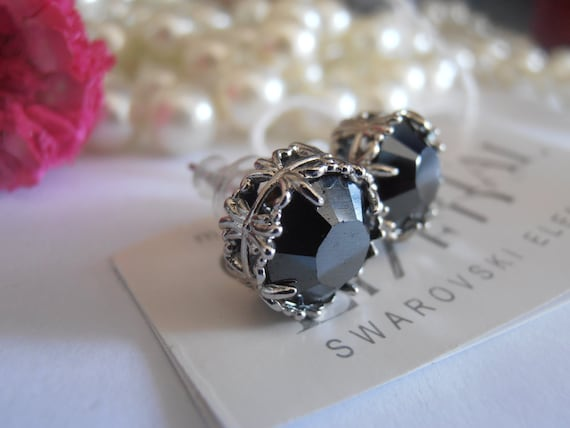 Art Deco Hematite Swarovski Crystal Stud Pierced Earrings