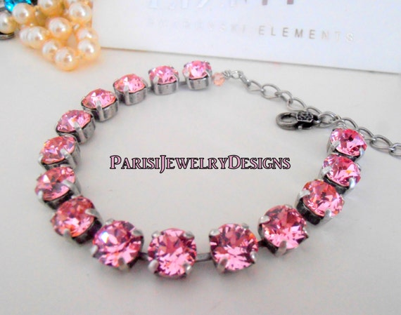 Swarovski Bracelet / Tennis / October Birthstone Rose Crystal / Cupchain / Surgical Steel Chain/ Mother's Bracelet / Gift For Her / Charm