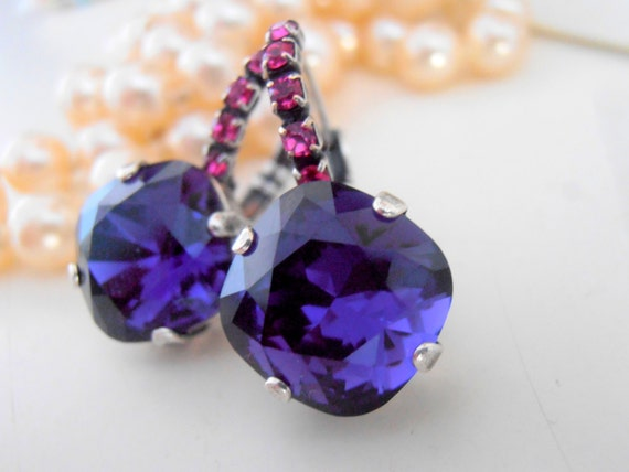Swarovski Earrings, Cushion Cut Earrings, Leverback Dangle/Drop Earrings, Purple Fuchsia Crystal, Wedding/Bridal Jewelry Fashion Accessories