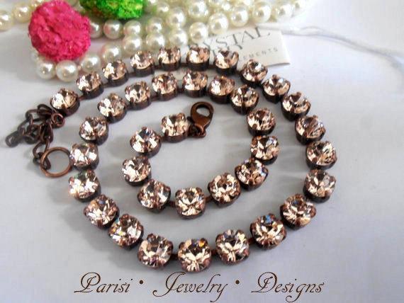 Tennis Cupchain Necklace w/ Swarovski Crystals in Antique Copper • Choker