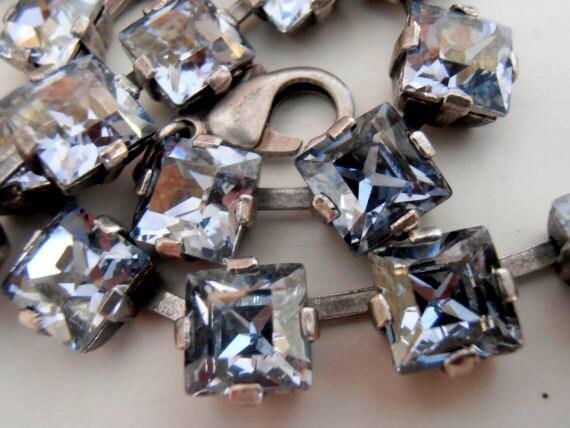 Crystal Blue Shade Princess Square Choker Necklace with Swarovski