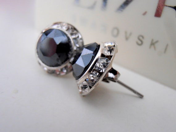 Jet Hematite Black Swarovski Stud Earrings / Halo Statement Prom Jewelry