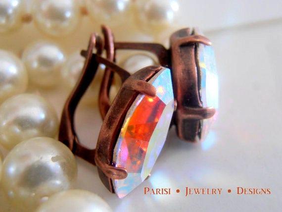 Aurora Borealis Navette Drop Earrings w/ Swarovski • Copper Lever back
