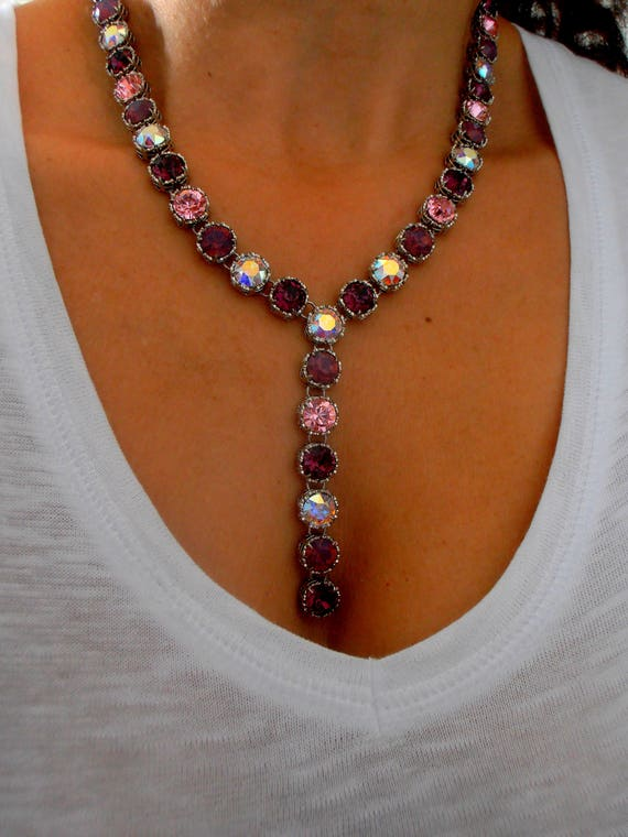 Amethyst Y Long Swarovski Necklace • Art Deco Jewelry