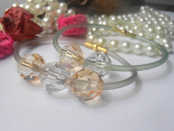 ONE Swarovski Bracelet,12mm ,Golden Shade and Silver Shade, Cord bracelet,Crystal,Minimal, beadwork, Faceted, Round Beads, Pale Green Rubber