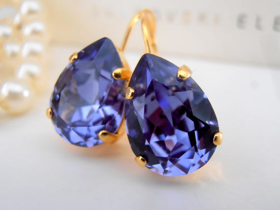 Tanzanite Teardrop Crystal Earrings / Swarovski Dangle Pear Earrings / Wedding Jewelry / Bridesmaids Gift